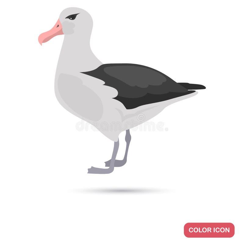 Albatross sea bird color flat icon. For web and mobile design vector illustration