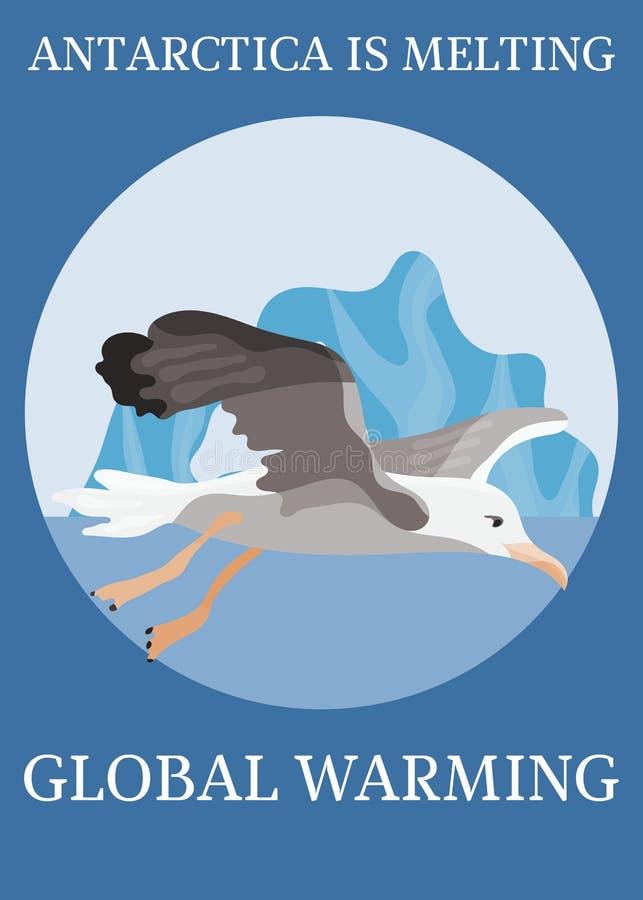 Albatroz da proteção do clima do cartaz em voo ilustração do vetor