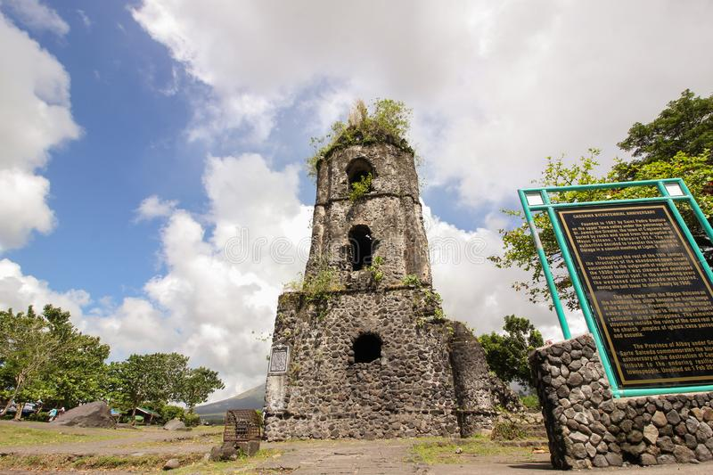 Cagsawa Ruins near Mt. Mayon in Albay Philippines royalty free stock photography