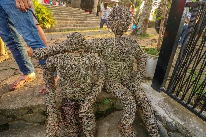 Human sculpture made from rattan in the Philippines stock photo