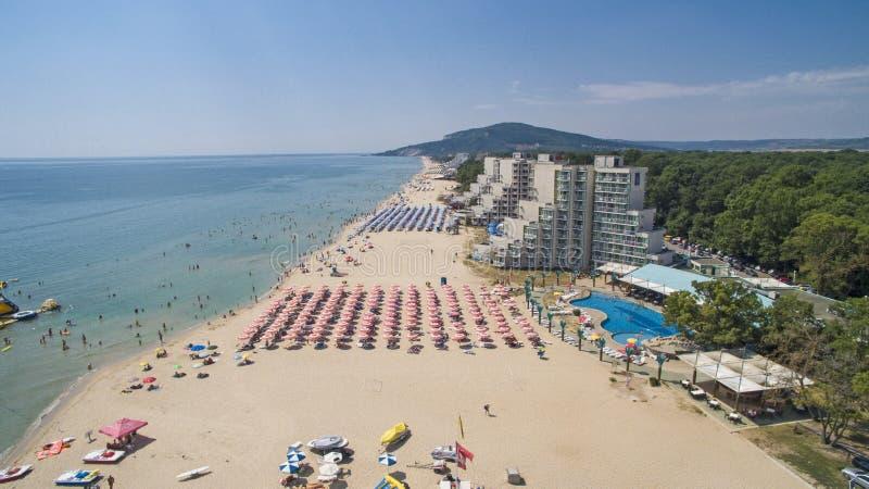 Albena Beach View desde arriba, Bulgaria foto de archivo