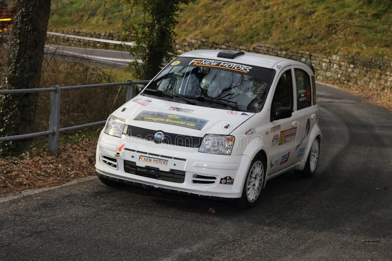 Albenga Italy - A Fiat Panda race car during the first time trial in the town of Testico. Alassio Italy - A Fiat Panda race car during the first time trial in royalty free stock photography