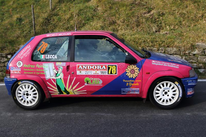 Albenga Italy - A Peugeot 106 race car during the first time trial in the town of Testico. Alassio Italy - A Peugeot 106 race car during the first time trial in royalty free stock photo