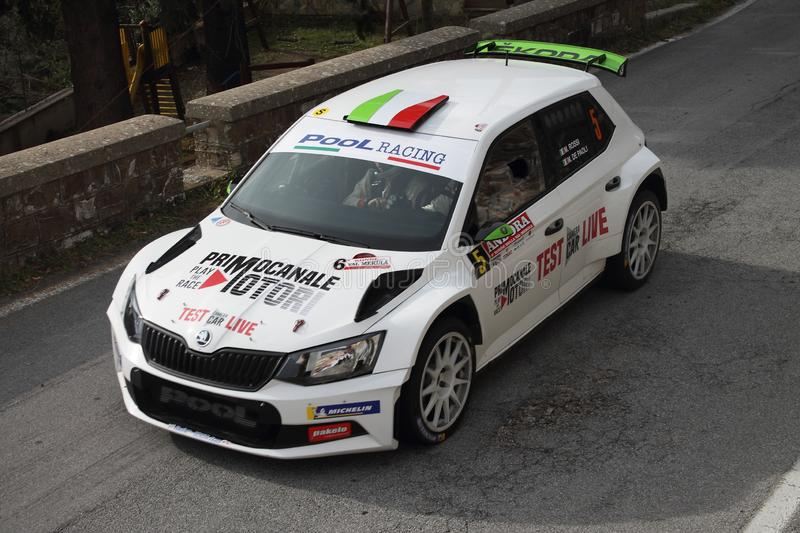Albenga Italy - A Skoda Fabia during the first time trial in the town of Testico. Alassio Italy - A Skoda Fabia during the first time trial in the town of royalty free stock photography