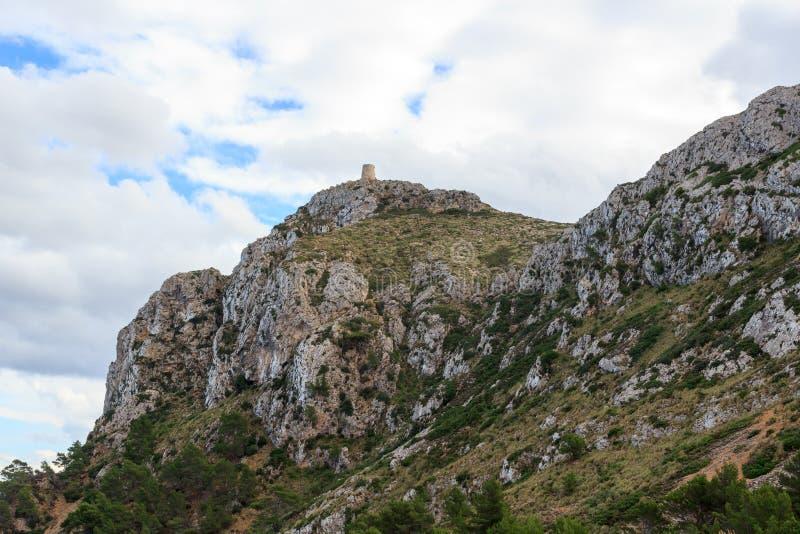 ` Albercutx Wachturm Talaia d bei Cap de Formentor, Majorca lizenzfreie stockfotografie