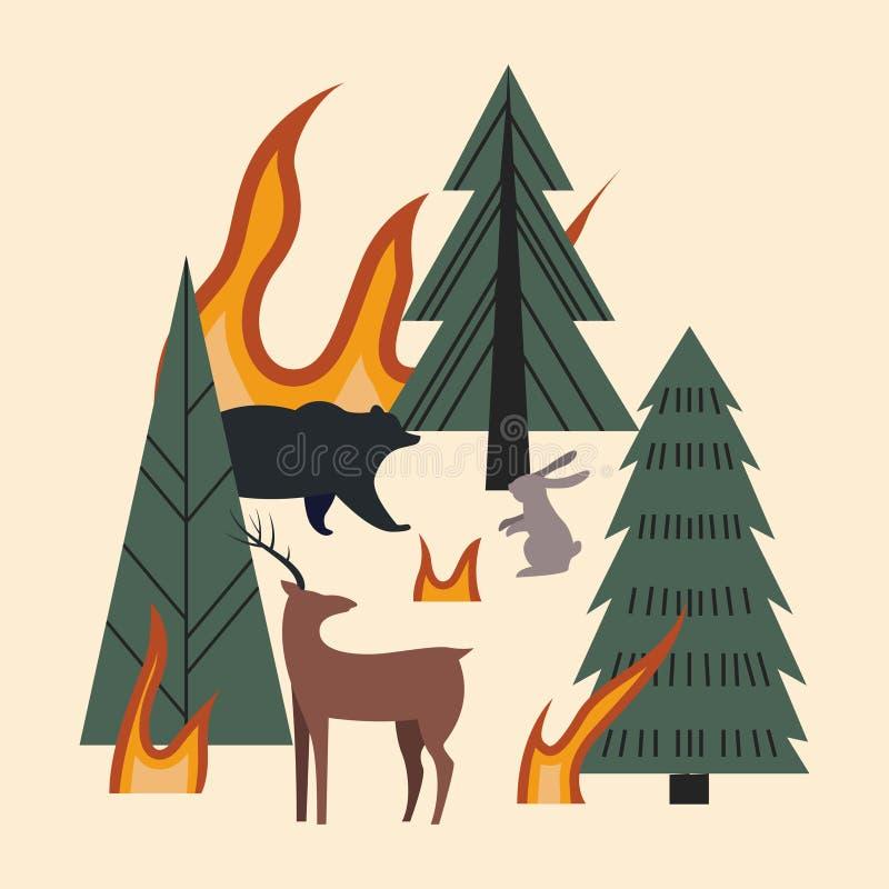 Alberi, animali e fiamme La foresta ? su fuoco Foresta bruciante con gli animali - cervi, orso e lepre illustrazione di stock