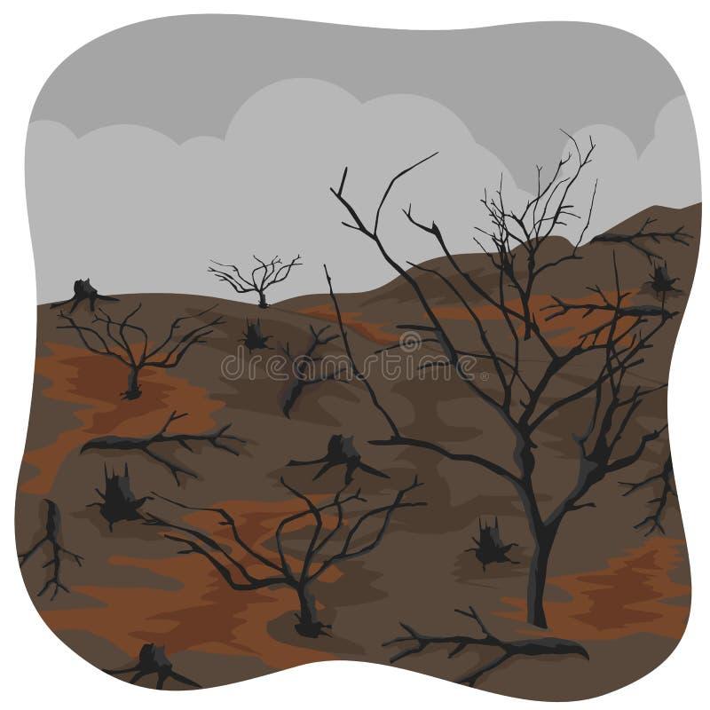 Alberi carbonizzati dopo incendio forestale illustrazione vettoriale