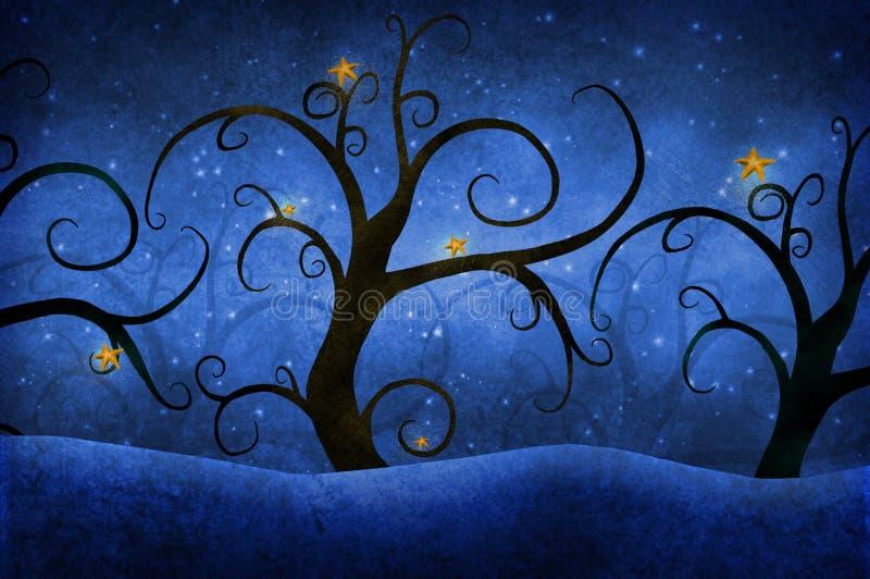 Alberi con le stelle royalty illustrazione gratis
