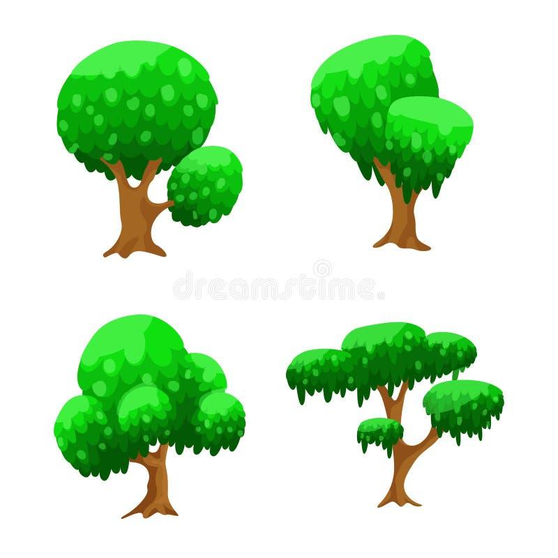 Alberi del fumetto, alberi stabiliti di vettore per progettazione del gioco illustrazione di stock