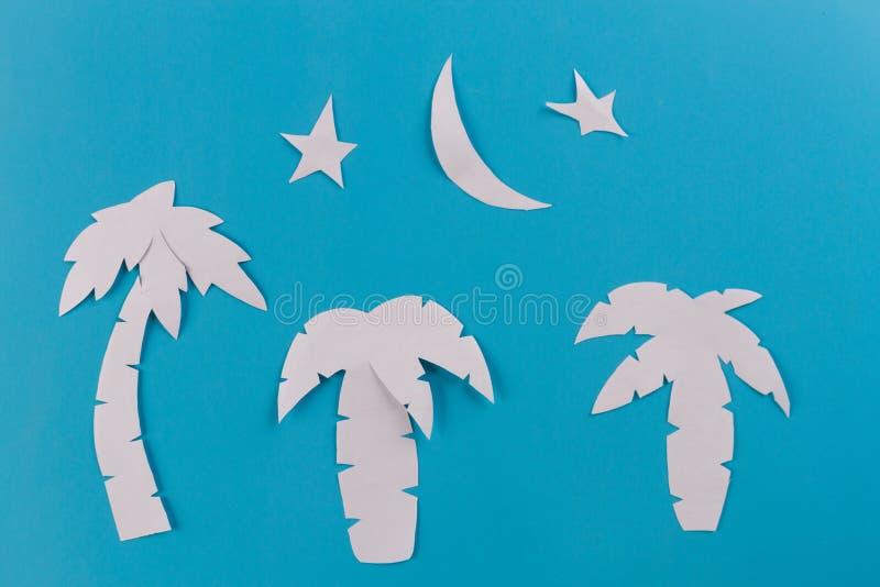 alberi del paim alla notte fotografia stock libera da diritti