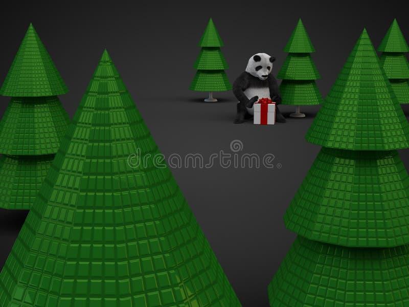 Alberi della scatola di presentazione del regalo dell'orso di panda di Natale su fondo scuro illustrazione di stock