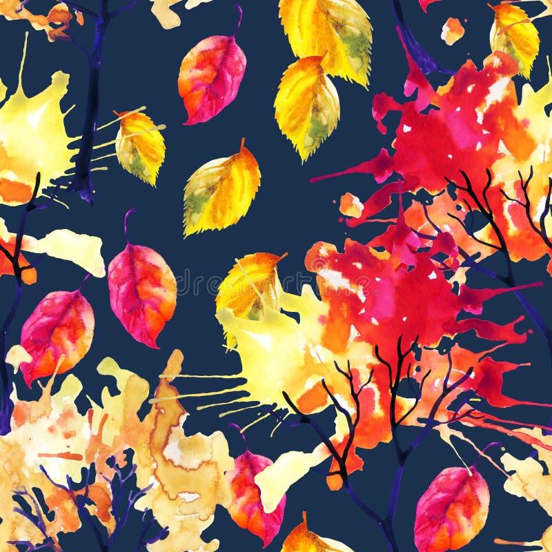 Alberi di autunno dell'acquerello e modello senza cuciture delle foglie illustrazione vettoriale