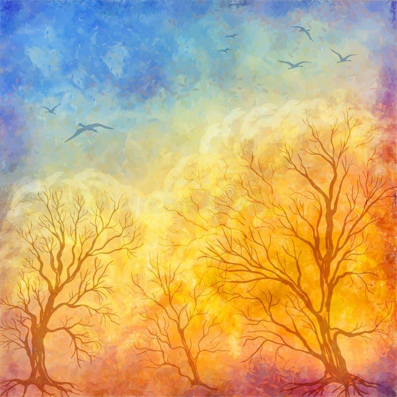 Alberi di autunno della pittura a olio di vettore, uccelli di volo illustrazione di stock
