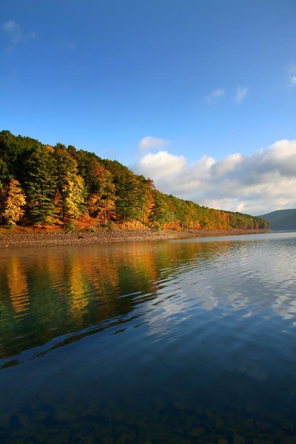 Alberi di autunno lungo il puntello del lago fotografie stock libere da diritti
