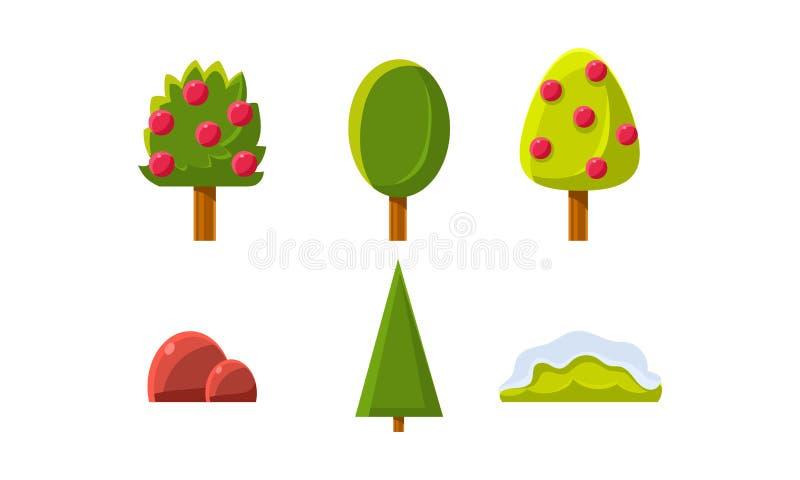 Alberi di estate, cespugli, insieme di elementi del paesaggio della natura, ambiente di gioco, beni per il GUI o vettore di web d illustrazione vettoriale