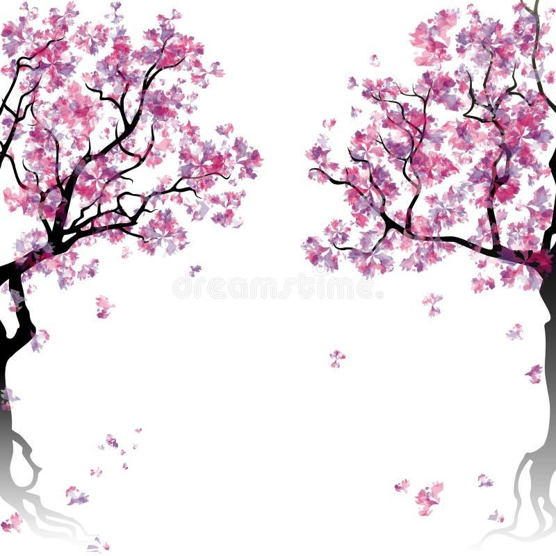 Alberi di fioritura dell'estratto variopinto illustrazione di stock
