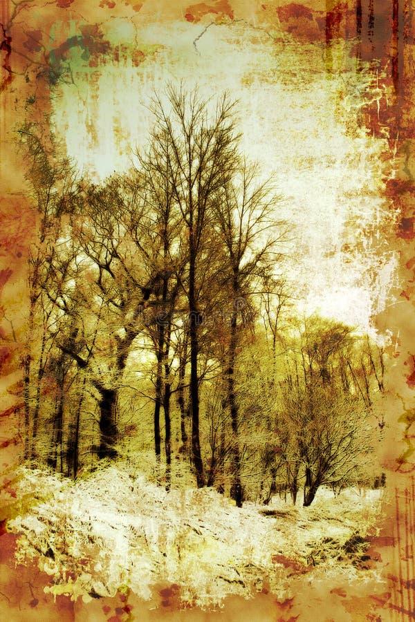 Alberi di inverno dell'annata illustrazione di stock