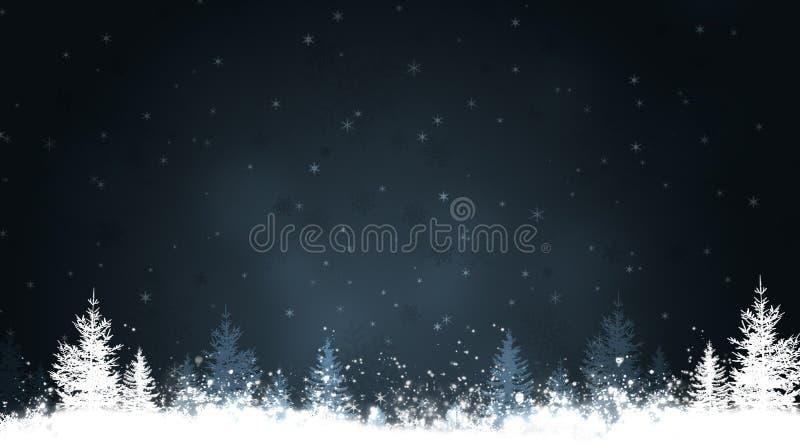Alberi di inverno di notte royalty illustrazione gratis