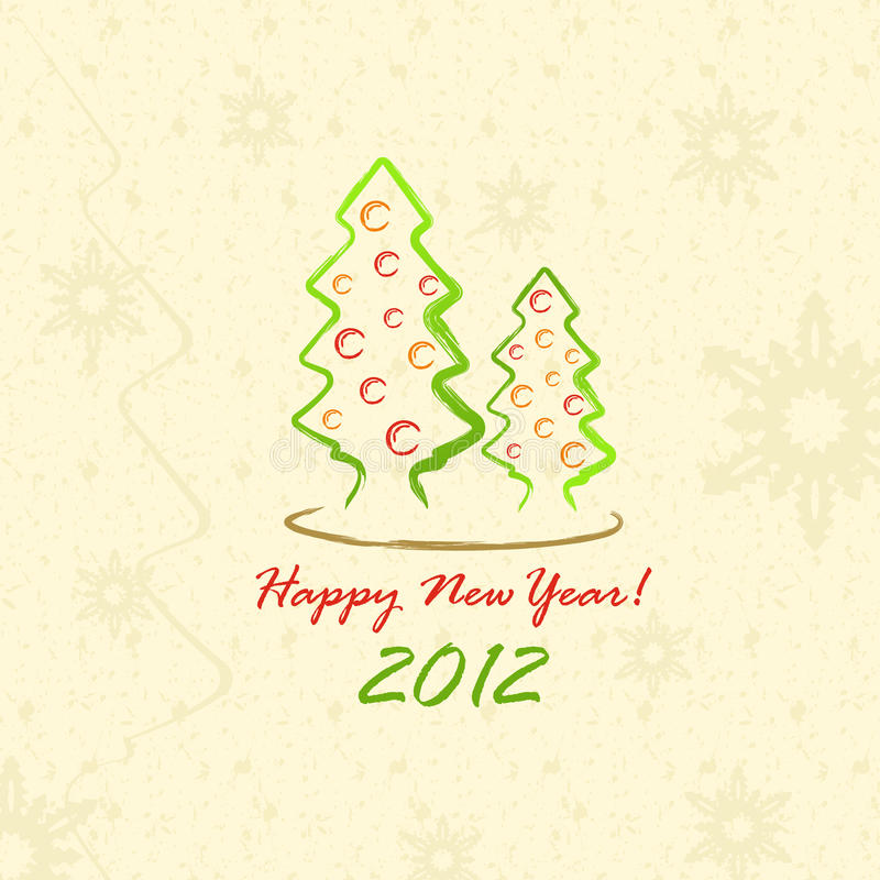 Alberi di Natale 2012 (cartolina nello stile di abbozzo) illustrazione di stock