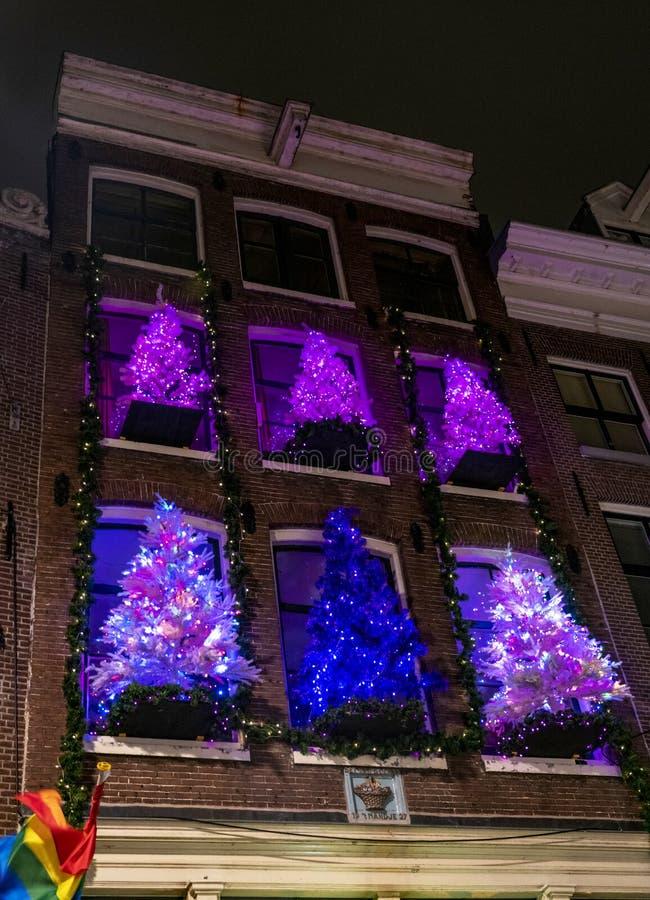 Alberi di Natale di Amsterdam sui canali fotografie stock