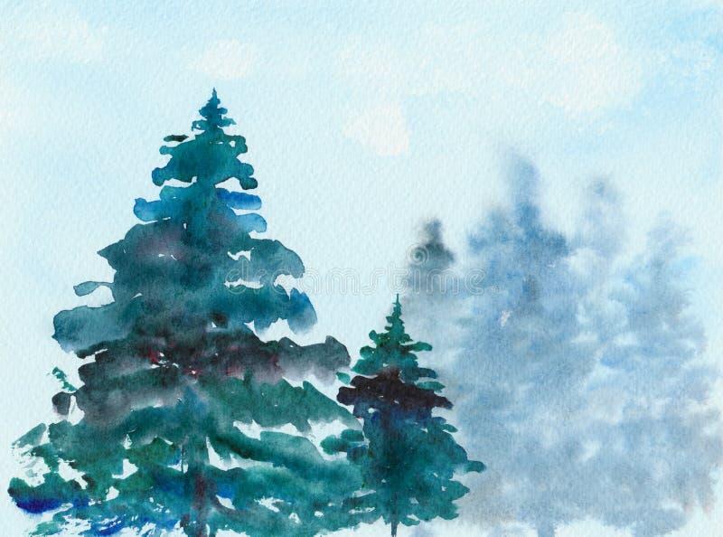 Alberi di Natale attillati nella foresta, acquerello, illustrazione illustrazione di stock