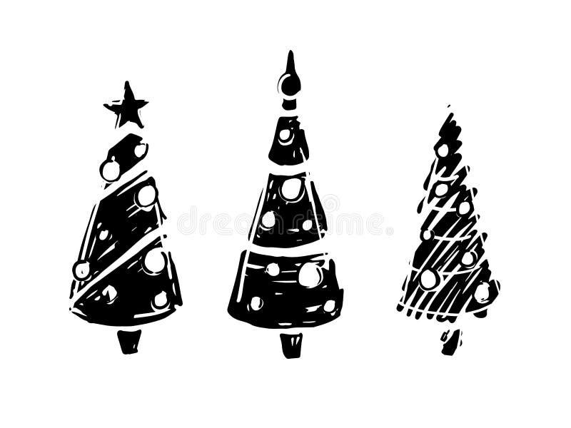 Immagini Natale In Bianco E Nero.Alberi Di Natale In Bianco E Nero Illustrazione Vettoriale Illustrazione Di Inchiostro Attraente 104730749