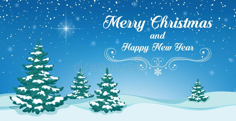 Foto Con La Neve Di Natale.Alberi Di Natale Con La Neve Su Sfondo Blu Buon Natale E Felice Anno Nuovo Illustrazione Vettoriale Illustrazione Di Disegno Scheda 203410948