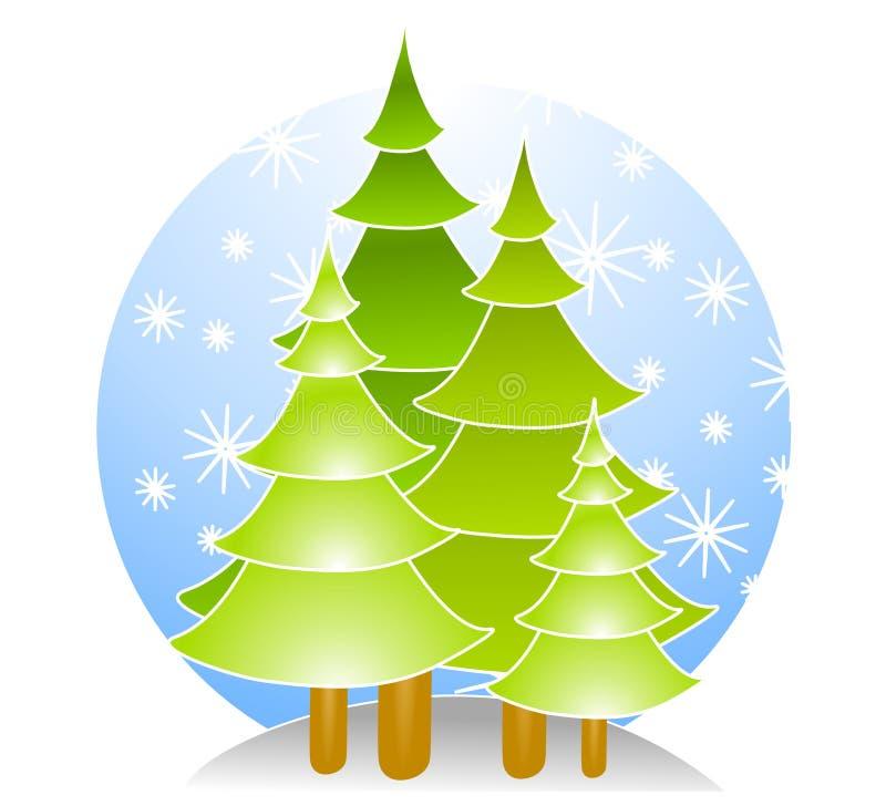 Alberi di Natale con neve illustrazione vettoriale