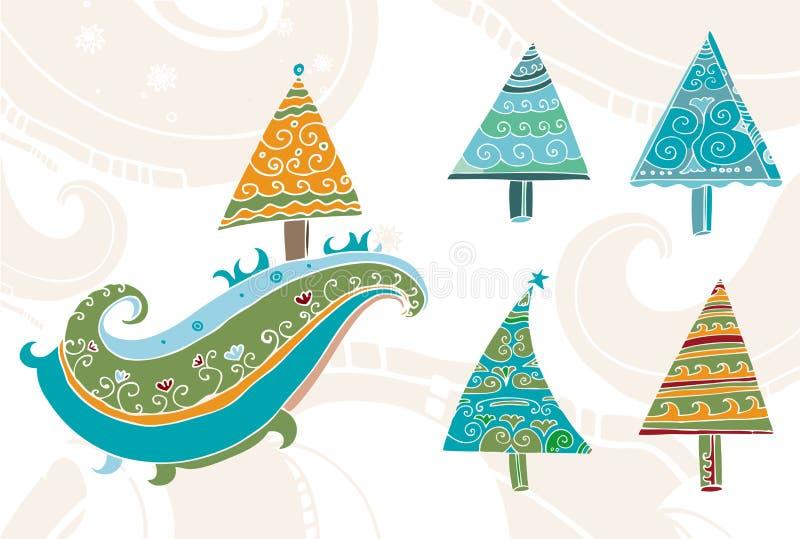 Alberi di Natale disegnati a mano impostati illustrazione vettoriale