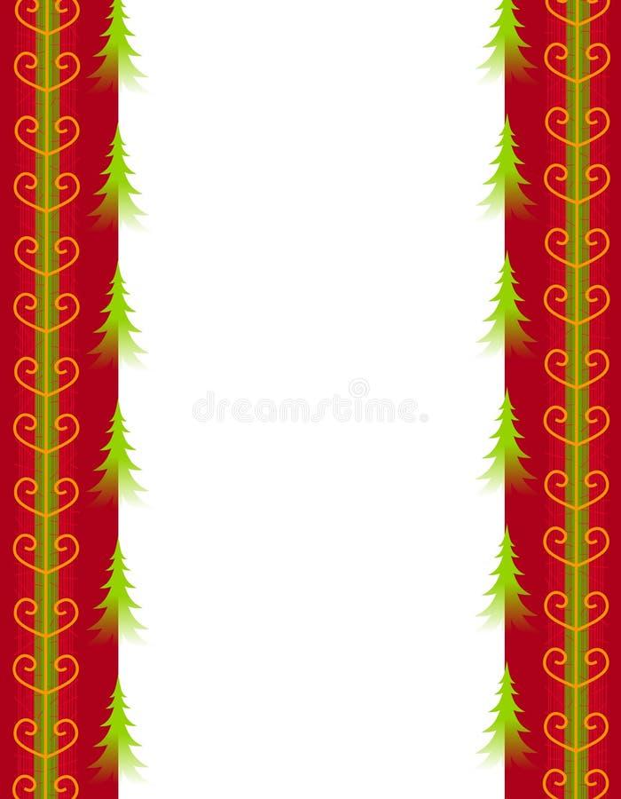 Alberi di Natale e bordo rosso del nastro dell'oro illustrazione di stock