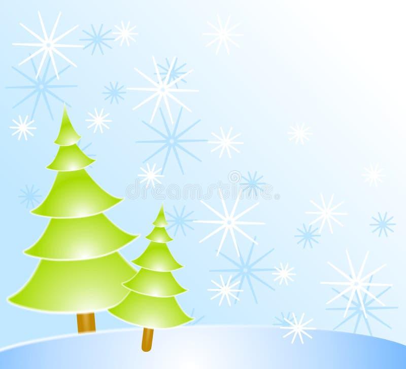 Alberi di Natale e neve illustrazione di stock