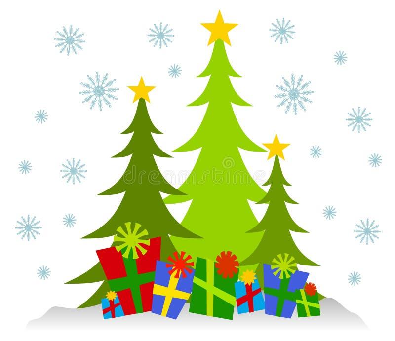 Alberi di Natale e presente di Cartoonish illustrazione vettoriale