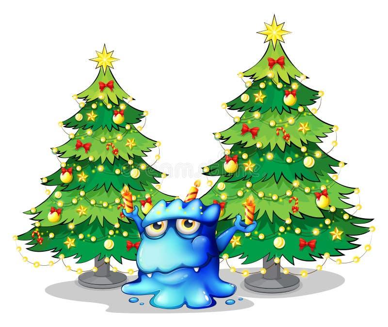 Alberi di Natale giganti alla parte posteriore del mostro blu illustrazione vettoriale