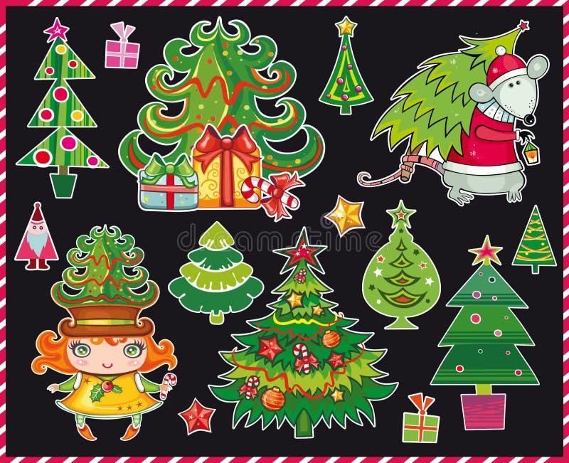 Alberi di Natale impostati royalty illustrazione gratis