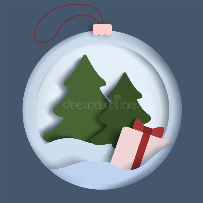Alberi di Natale nella neve ed in un regalo Decorazione di natale illustrazione di stock