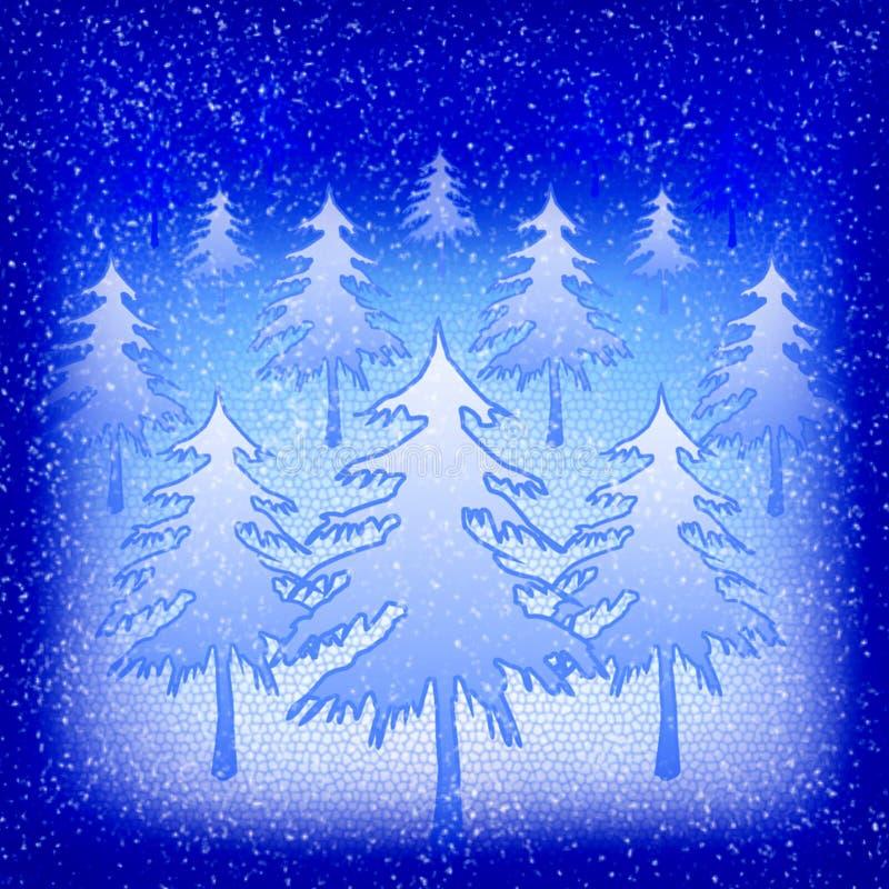 alberi di Natale Neve-riempiti alla notte fotografie stock libere da diritti