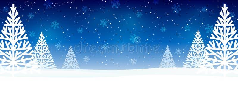 Alberi di Natale su sfondo blu stellato - pannello panoramico orizzontale per il design royalty illustrazione gratis