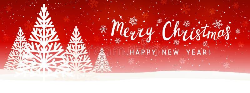 Alberi di Natale su sfondo stellato rosso - pannello panoramico orizzontale per il design illustrazione vettoriale