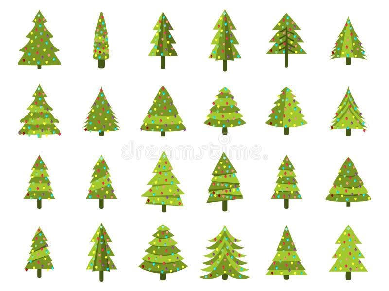 Alberi di Natale in uno stile piano Albero di Natale decorato Abeti isolati illustrazione vettoriale