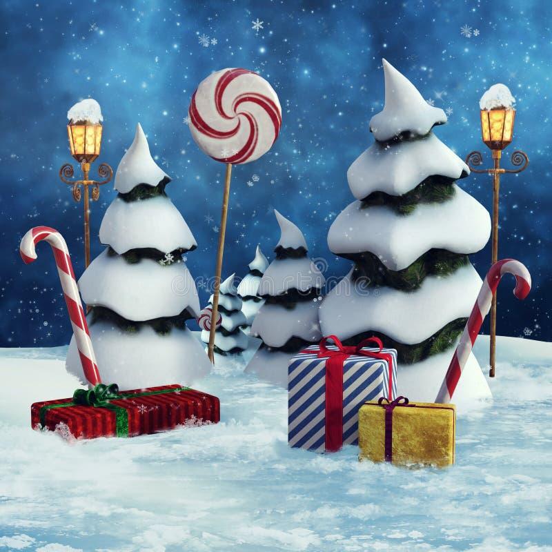 Alberi di Snowy e regali di Natale royalty illustrazione gratis