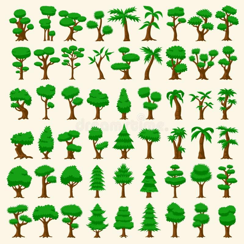 54 alberi di vettore del fumetto illustrazione vettoriale