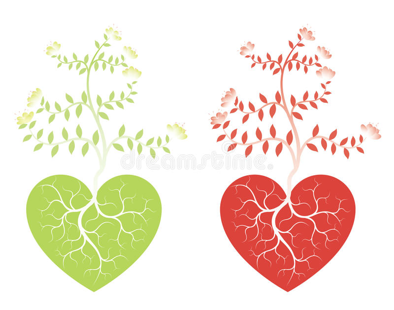 Alberi e cuori di amore illustrazione vettoriale
