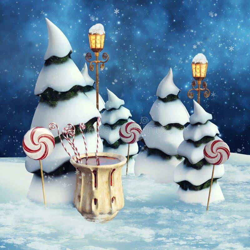 Alberi e lampade di Snowy royalty illustrazione gratis
