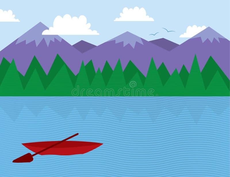 Alberi e montagne del lago illustrazione vettoriale