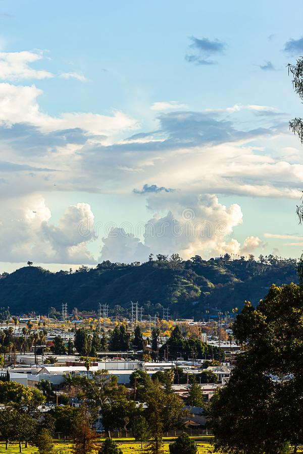Alberi e palme sempreverdi con le colline dell'eliso del parco dei tetti della città con le nuvole fotografie stock