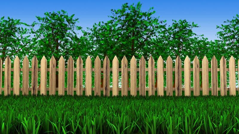 Alberi e recinto sul campo illustrazione di stock
