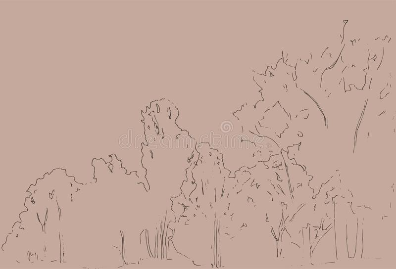 Alberi e schizzo dei cespugli Disegno lineare del paesaggio Illustrazione disegnata a mano Foresta su fondo bianco Linea nera pro illustrazione di stock