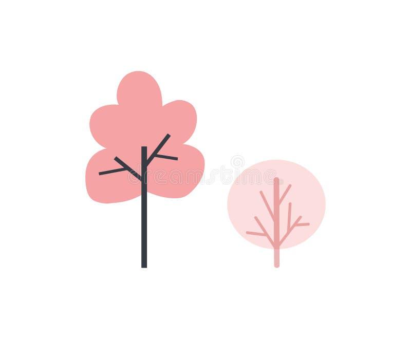 Alberi ed icona rosa della siluetta di vettore di colore dei cespugli illustrazione vettoriale