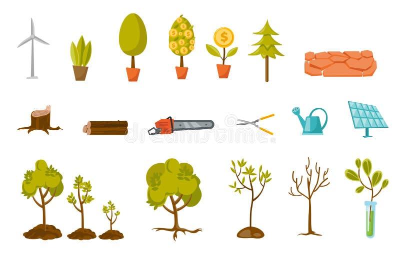 Alberi ed illustrazioni del fumetto di vettore della pianta messe royalty illustrazione gratis