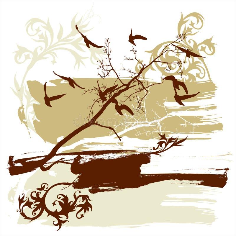 Alberi, fiore, uccelli di volo illustrazione di stock